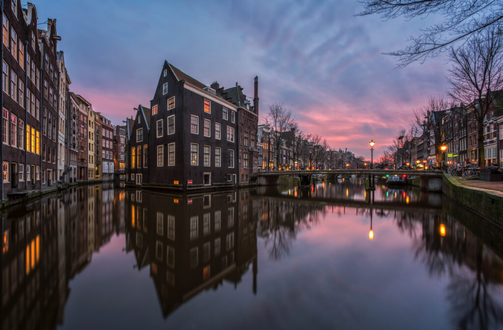 Pink sunset on the Amsterdam Canal District
