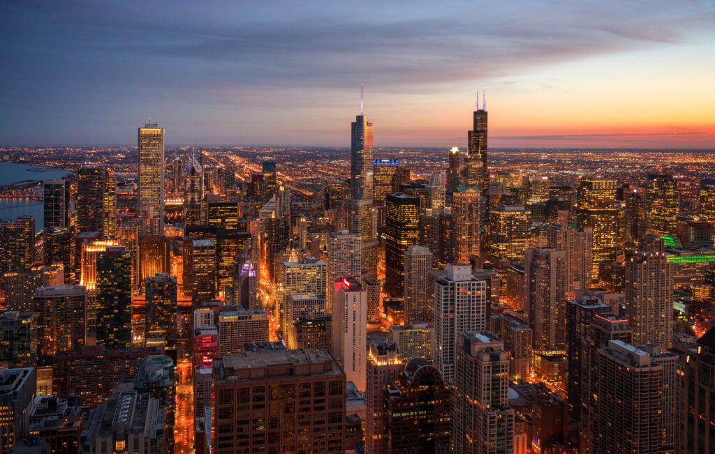 Chicago Illinois Skyline City Cityscape Aerial View Architecture Skyscrapers Downtown