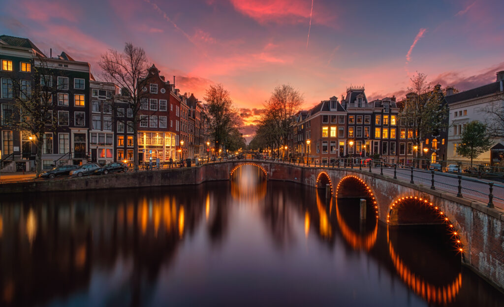 Colorful sunset on the Amsterdam Canals District