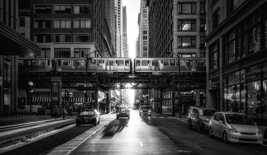 Monochrome capture of a train passing by on the Chicago Loop, Downtown Chicago Illinois