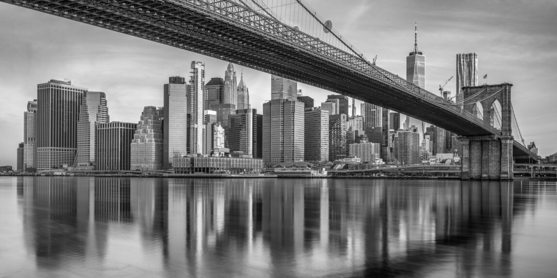 Skylines Monochrome capture of the Manhattan skyline and the Brooklyn Bridge