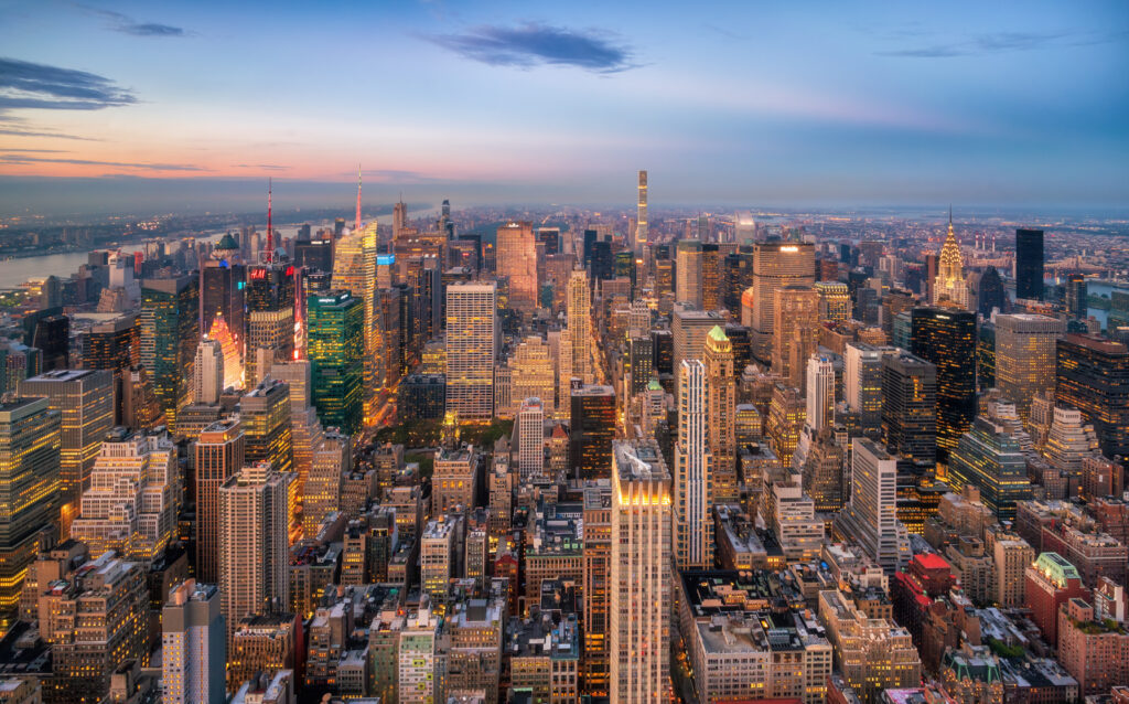 Aerial view over Manhattan at sunset