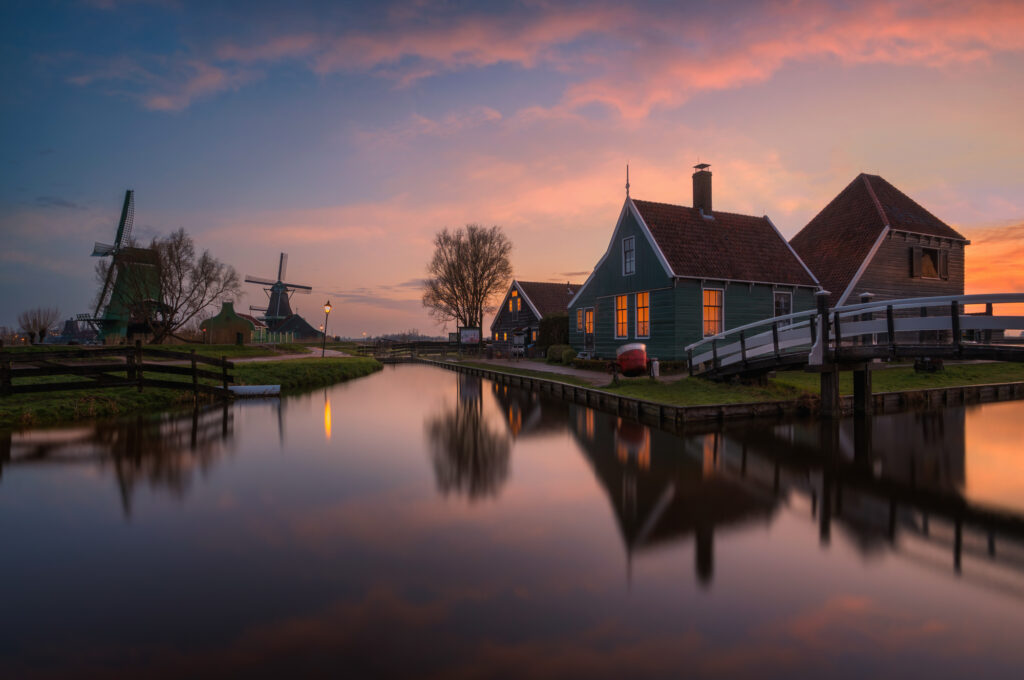 Zaanse Schans Netherlands Holland Landscape Cheese Farm Sunrise