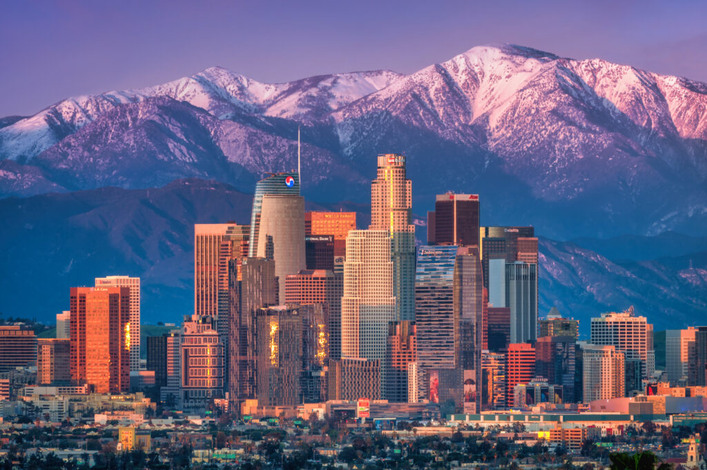 Los Angeles Skyline California Cityscape Skyscrapers Snow capped Mountains