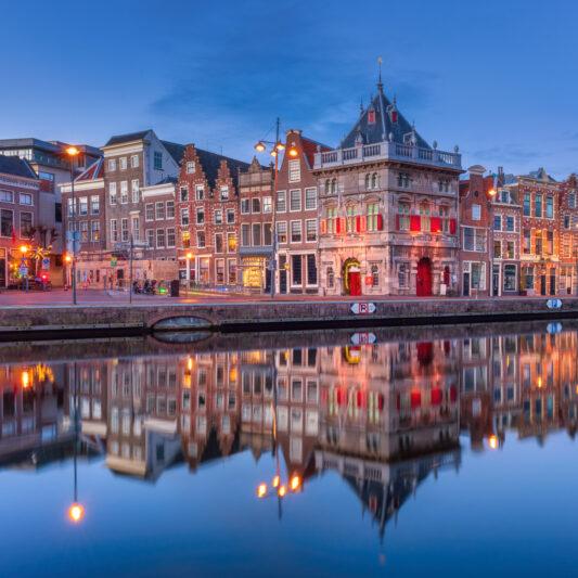 Haarlem Netherlands Nederland Holland River Spaarne Blue Hour De Waag Cityscape Skyline