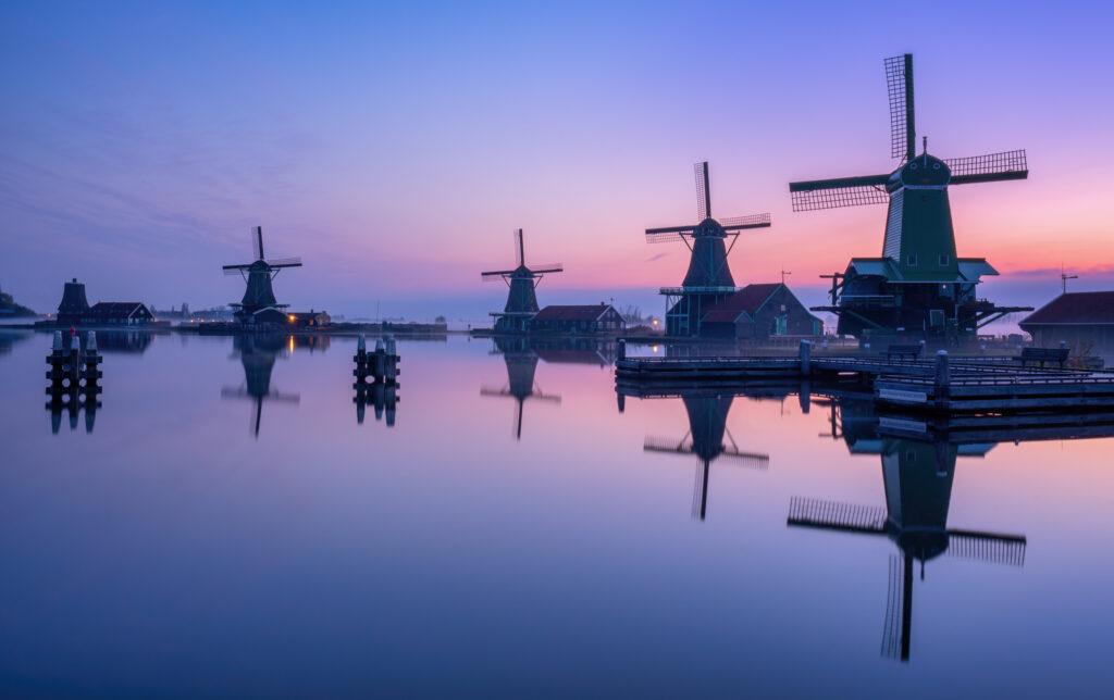 Windmills Zaanse Schans Netherlands Dutch Landscape Holland Sunrise Foggy
