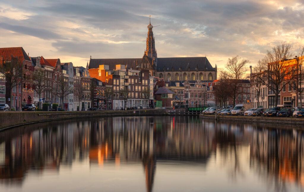 Haarlem Netherlands Nederland River Spaarne Cityscape St Bavo