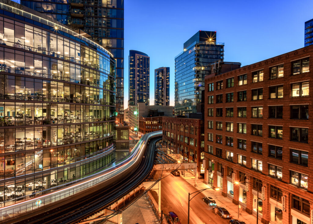 Blue hour capture long exposure of the Chicago Illinois Loop