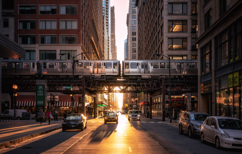 Sunset behind the famous Chicago Loop Illinois America usa downtown cityscape city