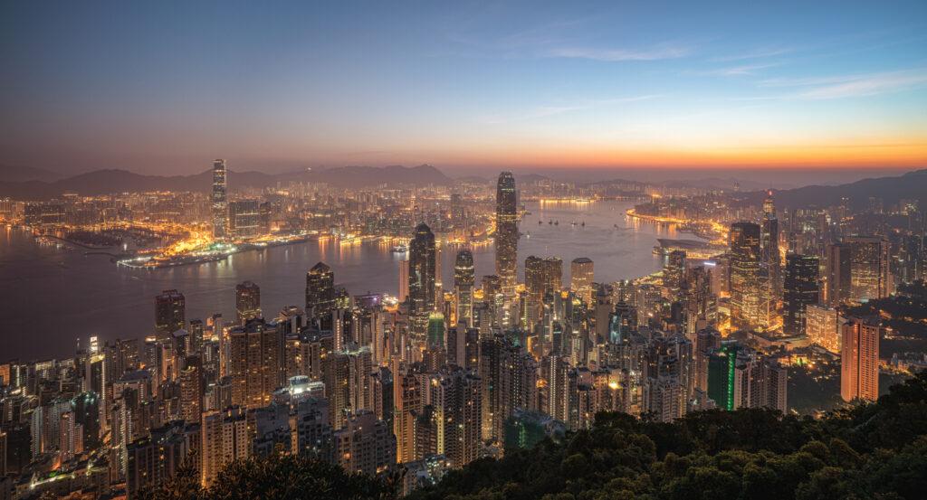 Hong Kong Skyline Victoria Peak Sunrise Cityscape