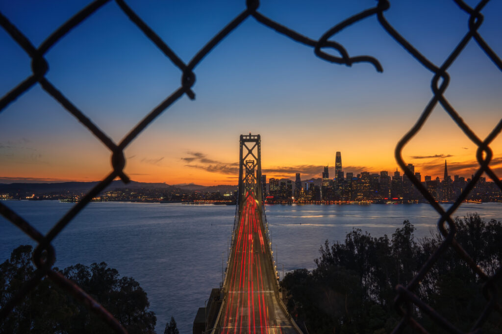 San Francisco Skyline at sunset, Treasure Island