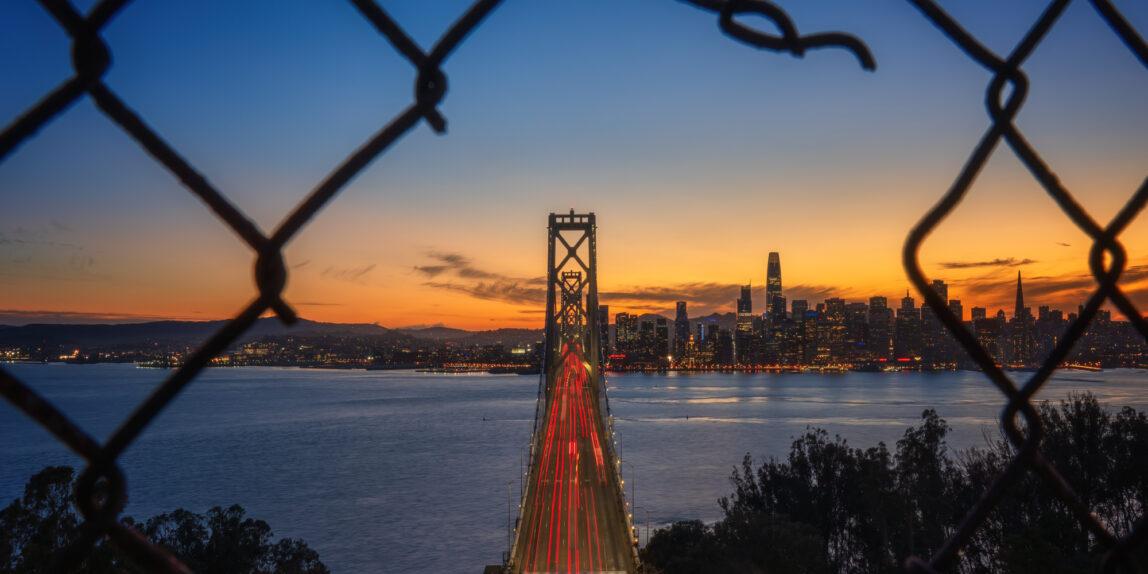 San Francisco Skyline at sunset, Treasure Island Bay Area California