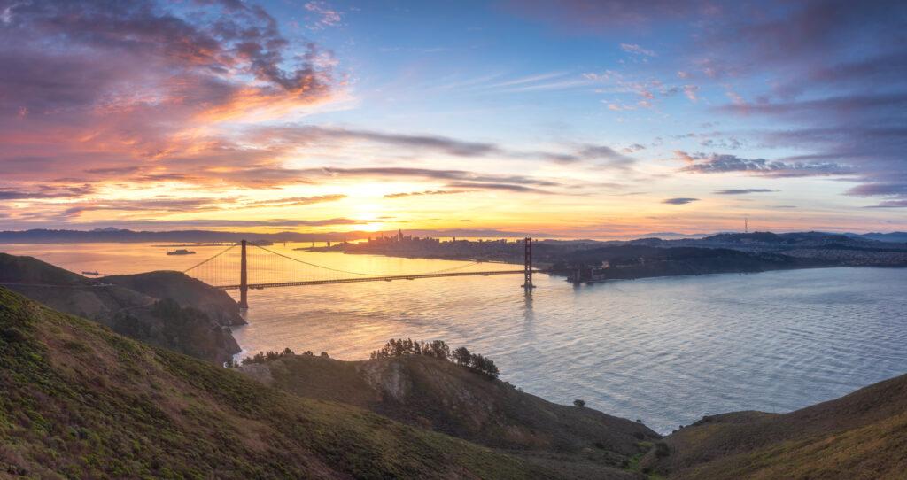 San Francisco Skyline Golden Gate Bridge Hawk Hill Bay Area