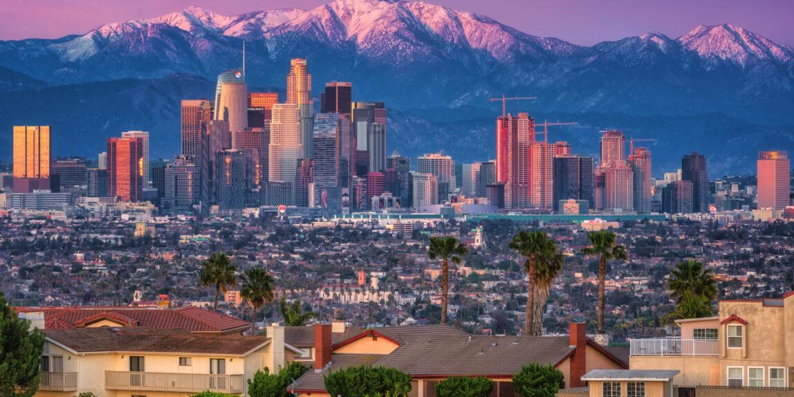 Los Angeles Skyline California Mountains Landscape Cityscape
