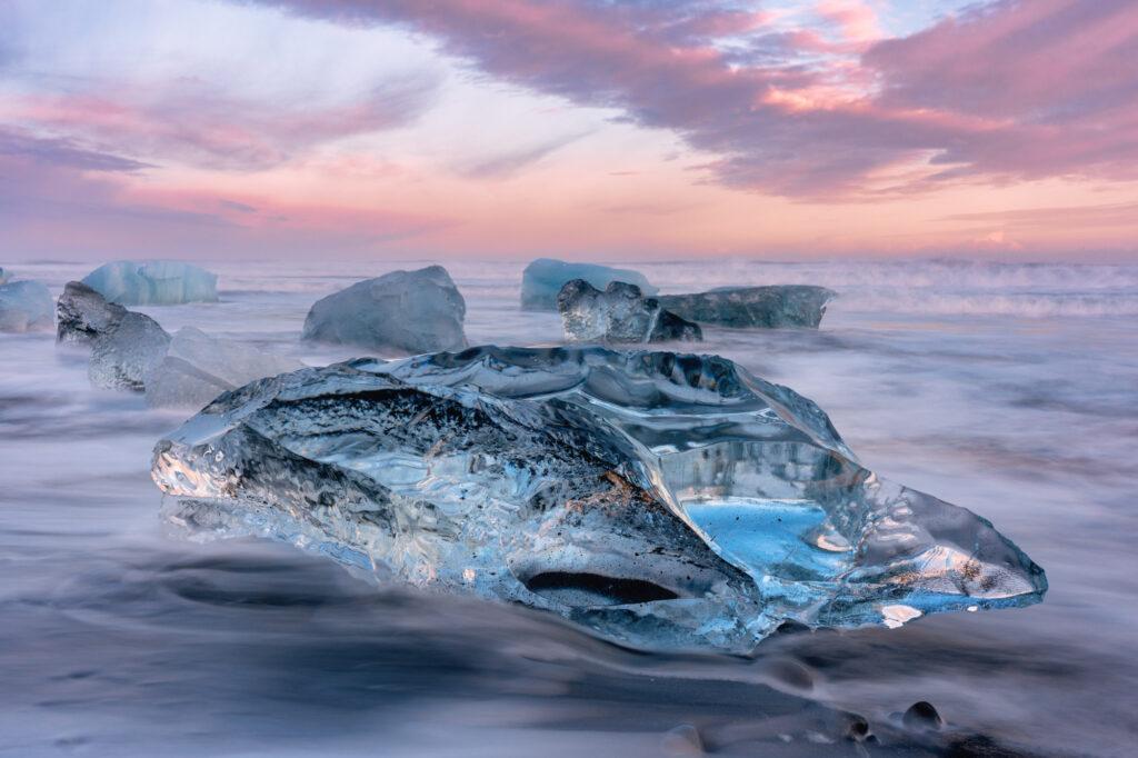 Diamond Beach Iceland Landscape Sunset Ice Rock