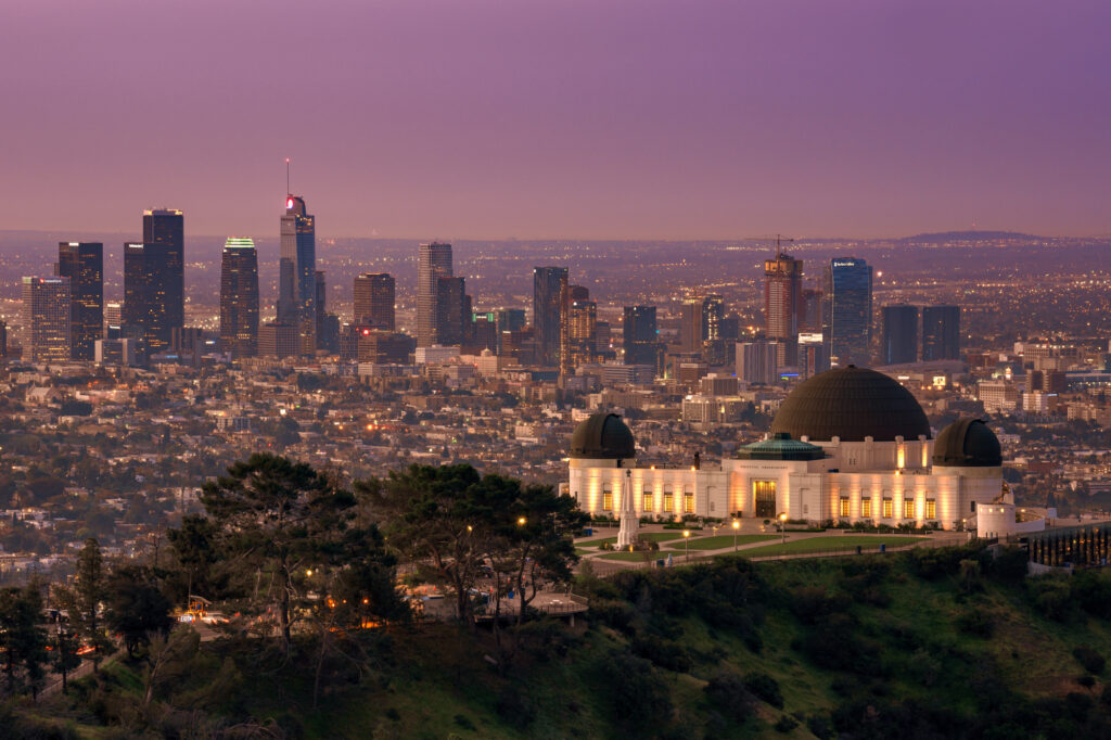 The Griffith Observatory and the Los Angeles Skyline at sunrise