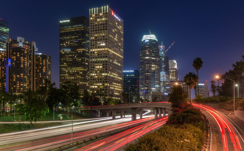 DTLA skyline Harbor Freeway Los Angeles