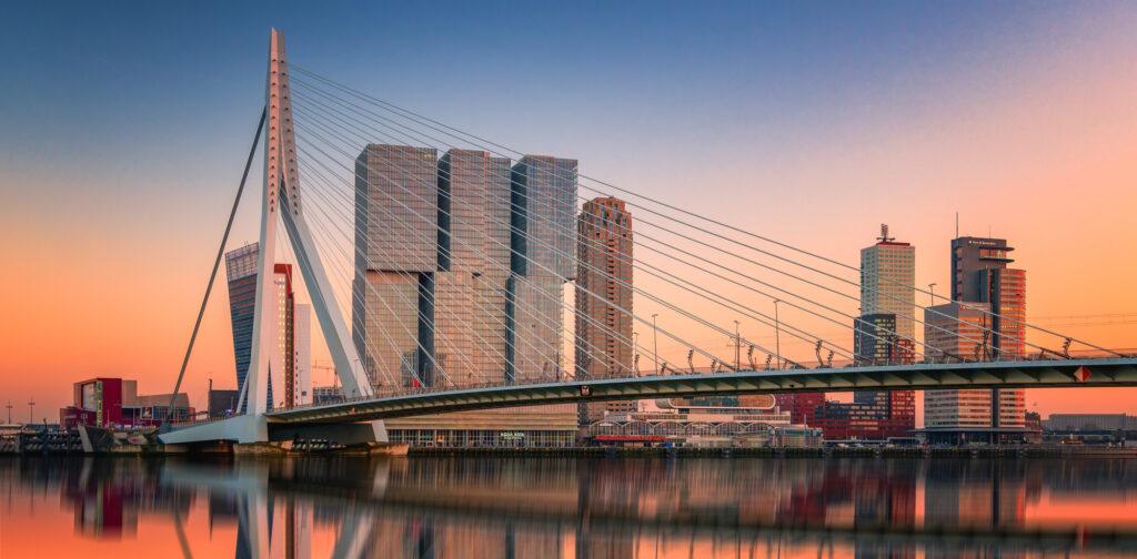 Rotterdam Skyline Erasmusbrug Netherlands Kop van Zuid