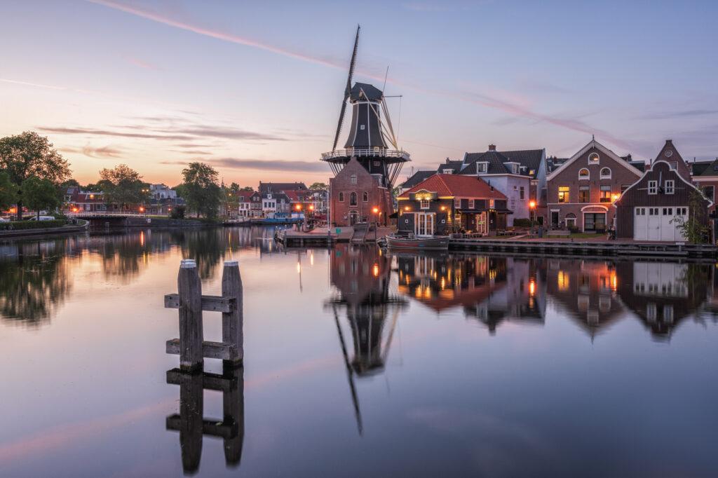 Molen de Adriaan Haarlem Netherlands Windmill River Spaarne Sunset Reflections
